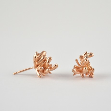 Sterling silver Succulent Sprig studs T3