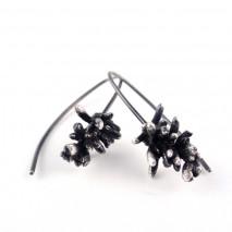 Sterling silver Succulent Sprig earrings T1