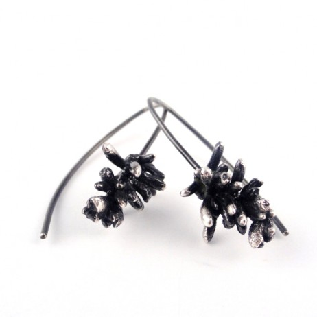 Sterling silver Succulent Sprig earrings T1