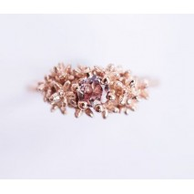 Solitaire champagne garnet ring