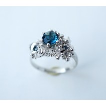 Crown ring with Swiss blue Topaz