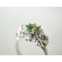 Woodland crown ring with green tourmaline