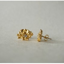 Tussie Mussie C studs with white sapphires