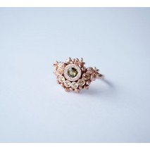 Halo ring with Tourmaline and Sapphires